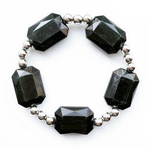 Vintage black/jade & silver bead stretch bracelet